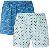 John Lewis Tropical Woven Cotton Boxer Shorts, Blue