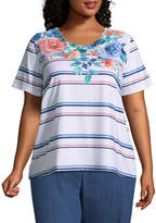 Alfred Dunner Sun City Floral Stripe Tee- Plus
