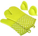 KEDSUM Heat Resistant Silicone Oven Mitts, Extra Long Quilted Cotton Lining Potholder Gloves with Mini Oven Mitts --Non-Slip Kitchen Gloves for Baking, Cooking, BBQ