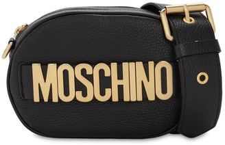Moschino LOGO GRAINED LEATHER CAMERA BAG