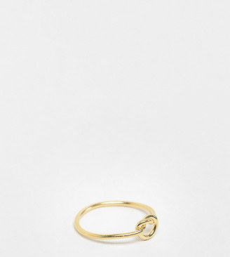 Kingsley Ryan gold plated knot detail ring in sterling silver