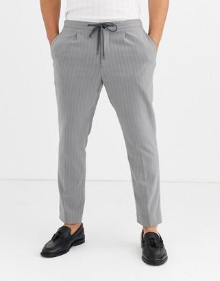 Moss Bros smart trousers in grey pinstripe