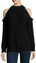 Milly Peekaboo Cold-Shoulder Ribbed Wool-Blend Sweater, Black