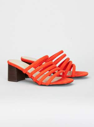 Evans EXTRA WIDE FIT Orange Padded Strap Mules