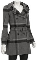 grey plaid wool-cashmere double-breasted coat