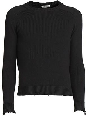 Saint Laurent Distressed Knit Pullover