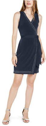 INC International Concepts Inc Studded Faux-Wrap Dress