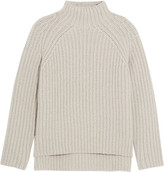 Theory Ribbed Wool-blend Turtleneck Sweater - Light gray