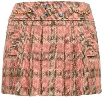 Gucci Check Wool Tweed Pleated Mini Skirt