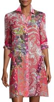 Etro Paisley Leaf-Print Silk Shirtdress Tunic, Red Multi