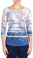 Allison Daley 3/4 Sleeve Blue Striped Paisley Print Knit Top