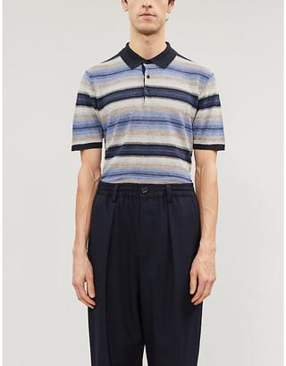 Corneliani Striped linen and silk-blend polo shirt