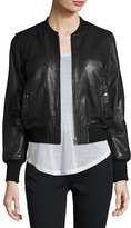 Isabel Marant Brantley Leather Bomber Jacket, Black