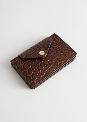 And other stories Croc Embossed Leather Card Holder