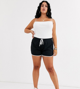 ASOS DESIGN Curve sporty runner shorts with contrast binding
