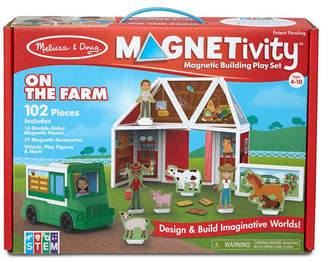 Melissa & Doug Melissa Doug 102-Piece Magnetivity Magnetic Building Play Set - On the Farm with Tractor Vehicle 16 Panels, 77 Accessory Magnets