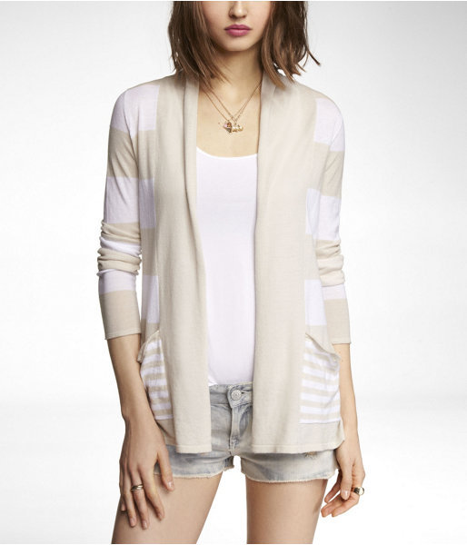 Express Mixed Stripe Pocket Front Cover-Up