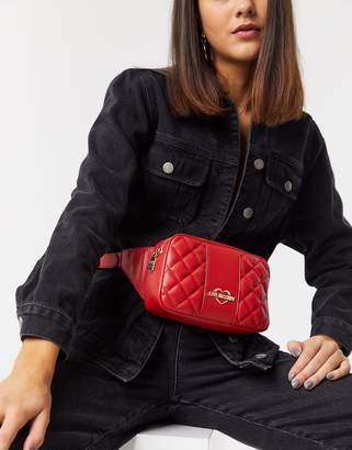 Love Moschino quilted Faux Leather belt bag-Red