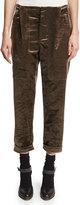 Brunello Cucinelli Cropped Velvet Jogger Pants, Brown