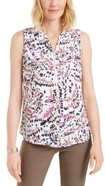 JM Collection Sleeveless Printed Zip-Front Top, Created for Macy's