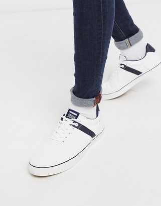 Jack and Jones canvas sneaker in white with navy stripe