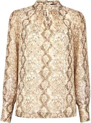 Dorothy Perkins Womens Gold Snake Print Long Sleeve Top, Gold