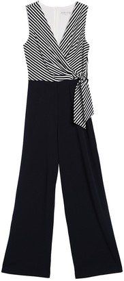 Sandra Darren Striped Colorblock Surplice Sleeveless Jumpsuit