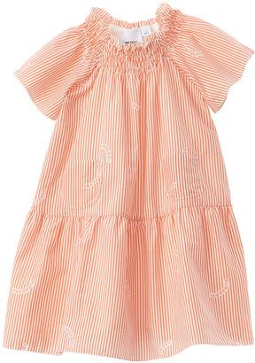 Burberry Striped Tiered Silk-Blend Dress
