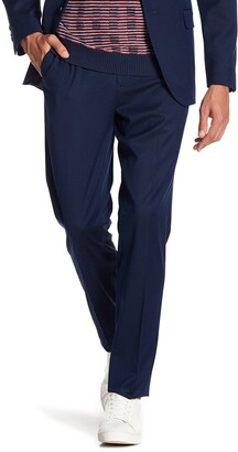 "Ben Sherman Blue Birdseye Flat Front Suit Separates Pants - 30-34"" Inseam"