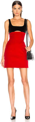 David Koma Contrast Cutout Mini Dress in Black & Red | FWRD