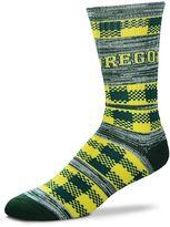 For Bare Feet Adult Oregon Ducks Double Plaid Crew Socks