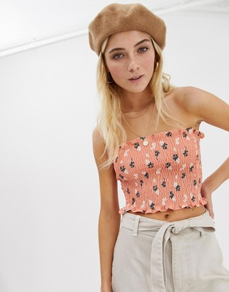 Glamorous bandeau crop top in shirred floral