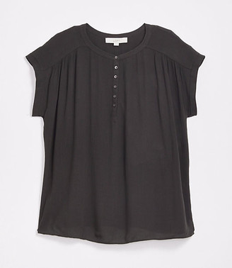 LOFT Petite Henley Mixed Media Top