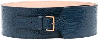 Agnona Crocodile-Effect Leather Belt