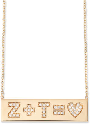 Chicco Zoe 14k Pave Initial Equation ID Necklace
