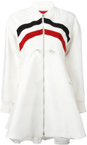 Moncler Gamme Rouge striped flared coat - women - Silk/Cotton - 00