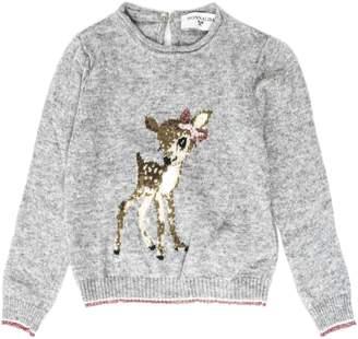 MonnaLisa Grey Cotton Blend Bambi Print T-shirt
