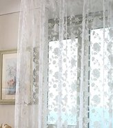 YingYingCurtains White window curtain fashion tulle flower curtain sheer curtain for living room