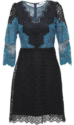 Sandro Belladone Paneled Scalloped Lace Mini Dress