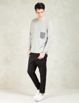 Factotum Grey L/S Check Pocket T-Shirt