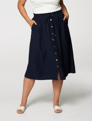 Forever New Lucille Curve Elasticated-Waist Skirt - Navy Sails - 16