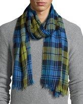 Begg & Co Cottlea Plaid Cotton-Linen Scarf, Blue/Green