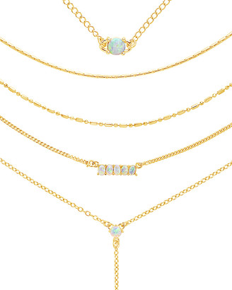 Sterling Forever 14K Over Silver Cz Layered Necklace
