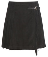 Burberry Pleated Suede Wrap Skirt With Fringe