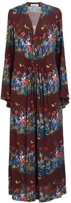 AILANTO Wine Dandelions Midi Dress