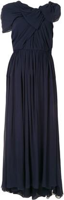 DELPOZO Asymmetric Sleeve Draped Dress