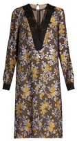 Lanvin Lace-insert brocade mousseline dress