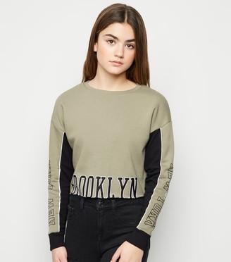 New Look Girls Brooklyn Slogan Crop Sweatshirt