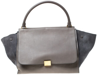 Celine Grey Leather and Suede Large Trapeze Bag