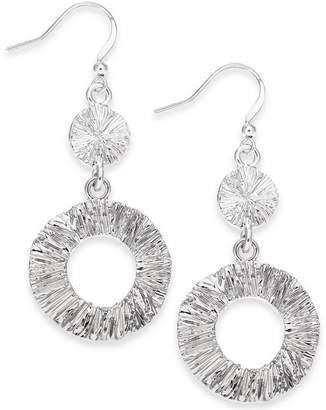 Charter Club Silver-Tone Open Circle Drop Earrings